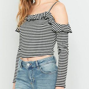 UO Pins &Needles Lettuce Edge Frill Cold Shoulder